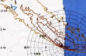 2011年3月14日現在の「SPEEDI」による被ばく予測の一つ。福島第1原発から北西に放射性物質が広がる。原子力安全委員会による公表は同23日以降だった